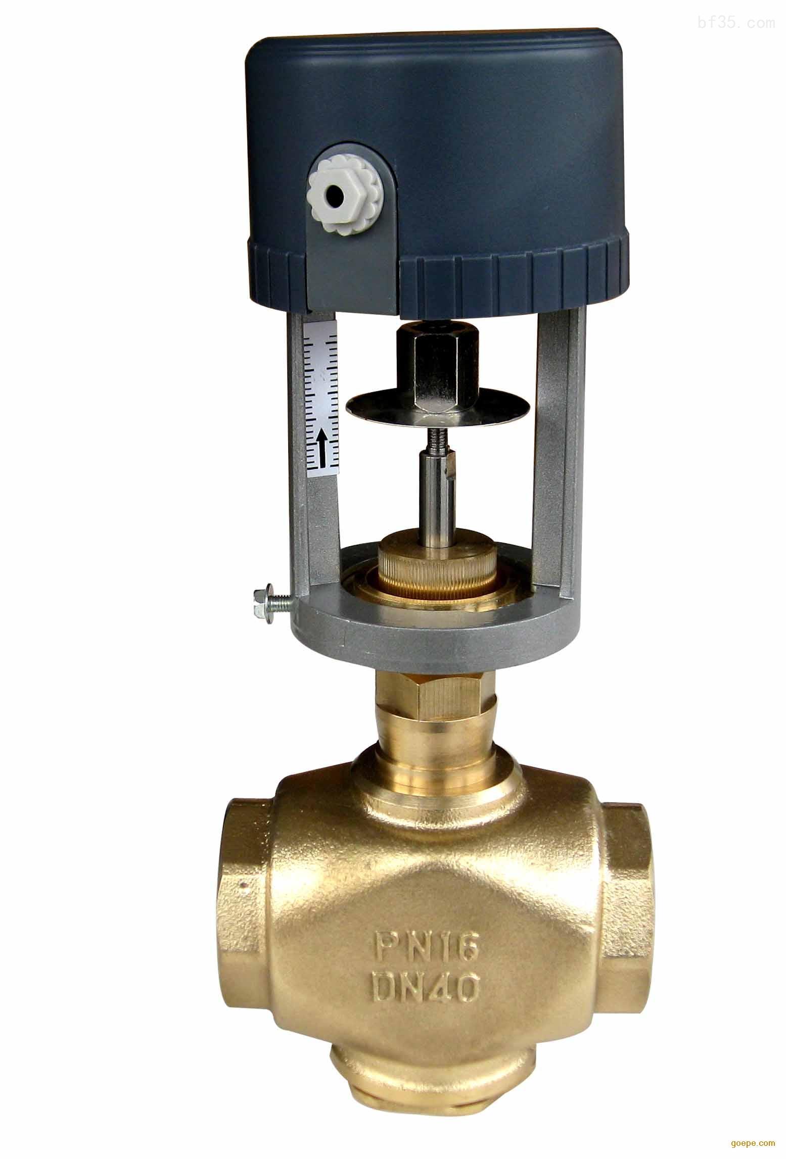 比例积分二通阀产品特点   执行器选用铸铝支架及塑料外壳,体积小、重量轻   选用永磁同步电机,并带有磁滞离合机构,具有可靠的自我保护功能   -适合多种控制信号:增量(浮点)、电压(0~10V)、电流(4~20mA)   -具有0~10V或4~20mA反馈信号(选配)   传动齿轮采用金属齿轮,大大提高了驱动器的使用寿命   功耗低、输出力大、噪音小   阀体有铸铜、铸铁、铸钢、不锈钢多种材质可供选择,以适合不同工作介质及温度的要求   -阀体有螺纹连接和法兰连接两种,安装方便,其构造符合