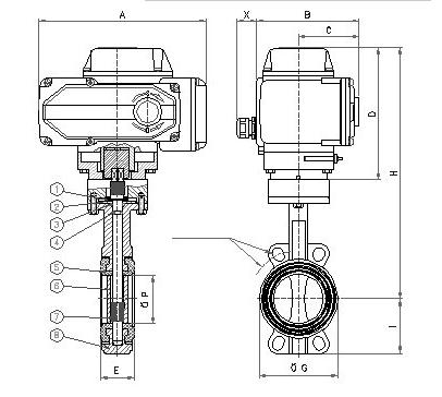 电动对夹软密封蝶阀主要外形连接尺寸图片